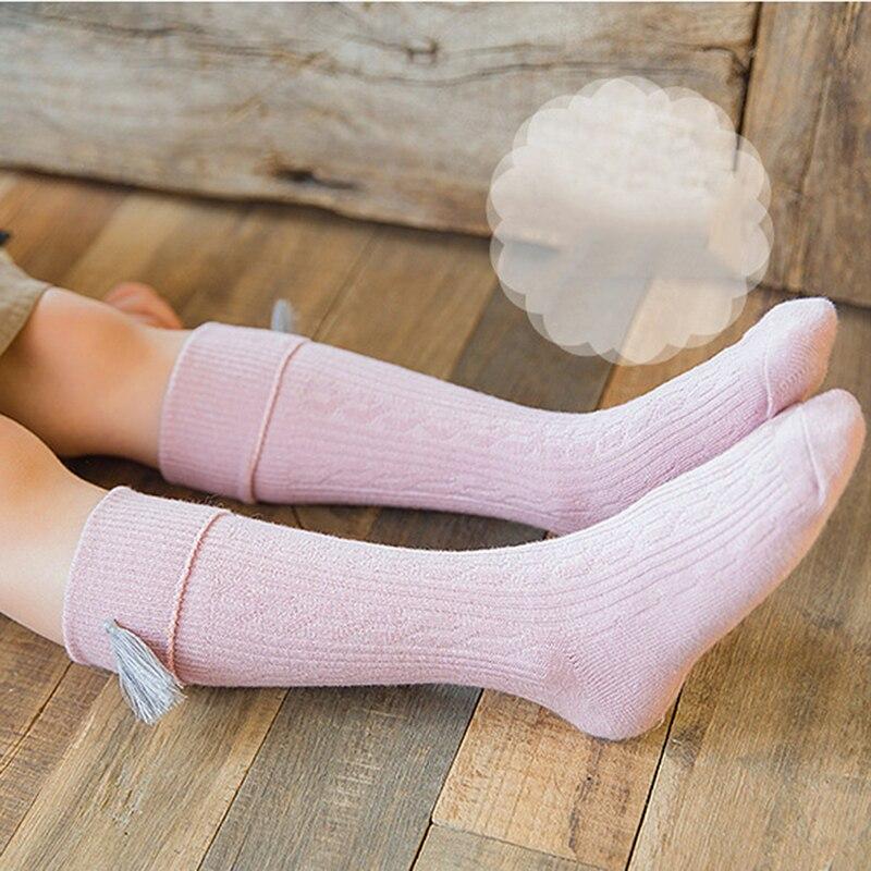 2021 New Style Korean Version Tassel Children Socks For Girls Knee Socks Kids Candy Color Leg Warmer Cotton Warm Socks