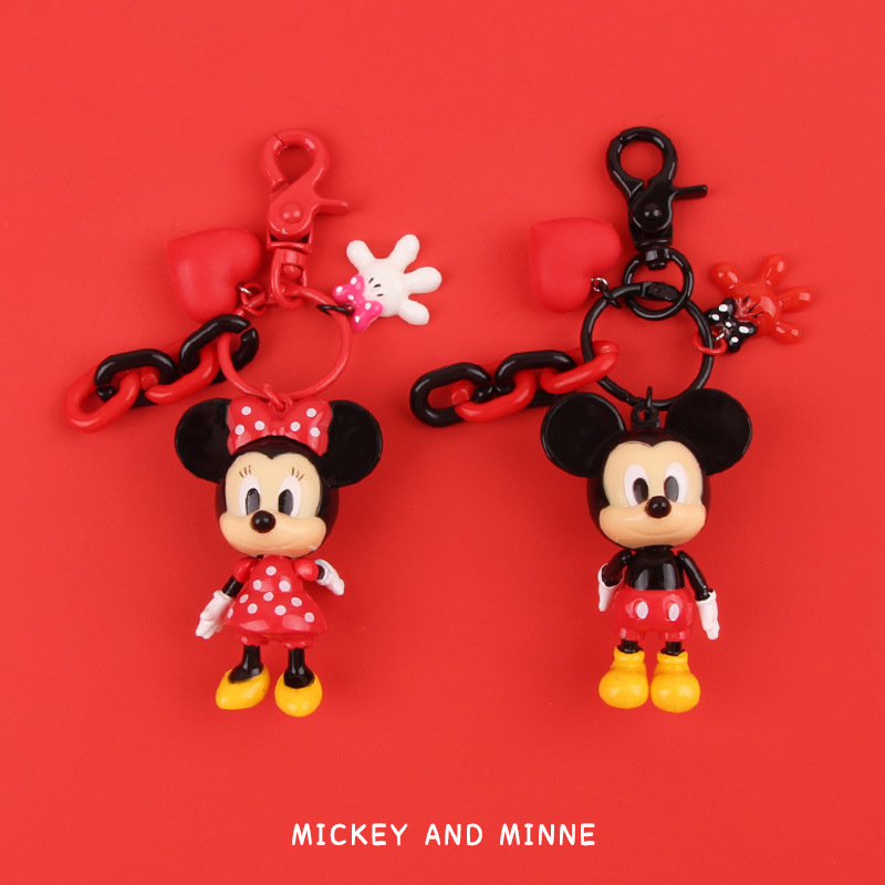2020 Cute Mickey Minnie Keychains CartoonPopcorn Donald Duck Key Chains For Women Bag Charm Pendant key Ring Children Gifts image