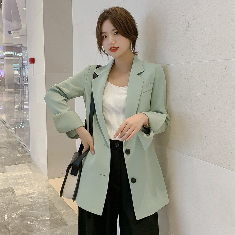 Casual autumn new long sleeved suit jacket women 39 s 2019 new fashion slim solid color office blazer Women 39 s suit in Blazers from Women 39 s Clothing
