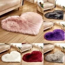 Мягкий коврик из искусственной овечьей шерсти для детской комнаты, спальни, длинный пушистый ковер, красный, белый, розовый мохнатый ковер, меховые коврики в форме сердца