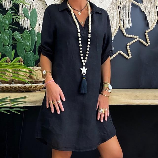 fun shirt dress, collared and short sleeved 3