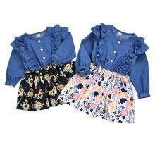 Infant Toddler Baby Girl Long Sleeve Button Denim Top Floral Dress Fall