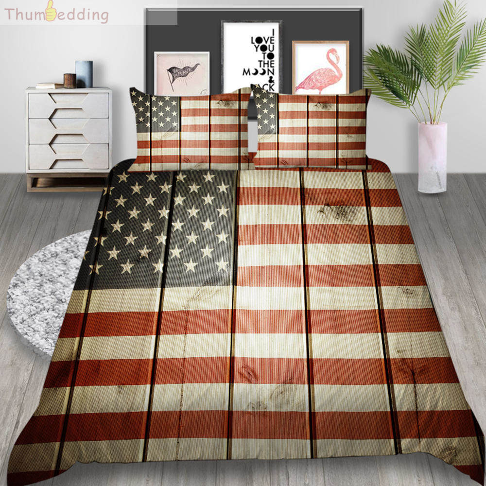 Thumbedding American Map Bedding Set King Size Duvet Cover Set Queen Flag Soft Touching Material Bed Cover With Pillowcase