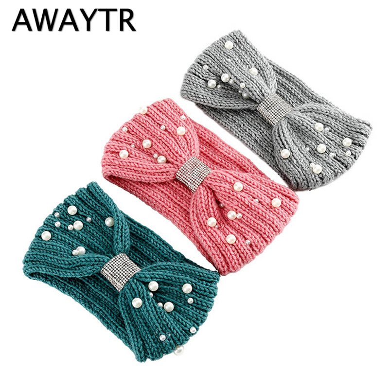 AWAYTR Pearl Knot Headband For Women Girl Knit Warm Crochet Elastic Hair Band Handmade Turban Headwear Winter Hair Accessories