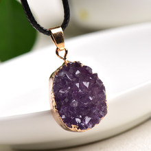 1PC Natural Crystal Pendant Necklace Brazil Amethyst Crystal Random Shaped Stones Reiki Fashion Mineral Jewelry For Unisex Gifts