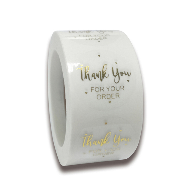 500pcs/roll Round Gold Foil Thank You For Your Order Stickers 1 inch Wedding Pretty Gift Cards Envelope Sealing Label Stickers 1