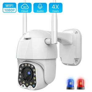 Cloud 1080P Wifi PTZ Camera Outdoor 2MP Auto Tracking CCTV Home Security IP Camera 4X Digital Zoom Speed Dome Camera Siren Light(China)
