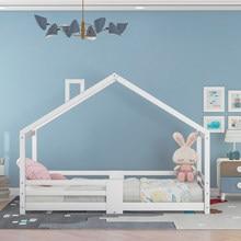 Lit de maison en bois de pin pour enfants, protection contre les chutes, cadres à lattes robustes, 90x200cm, blanc