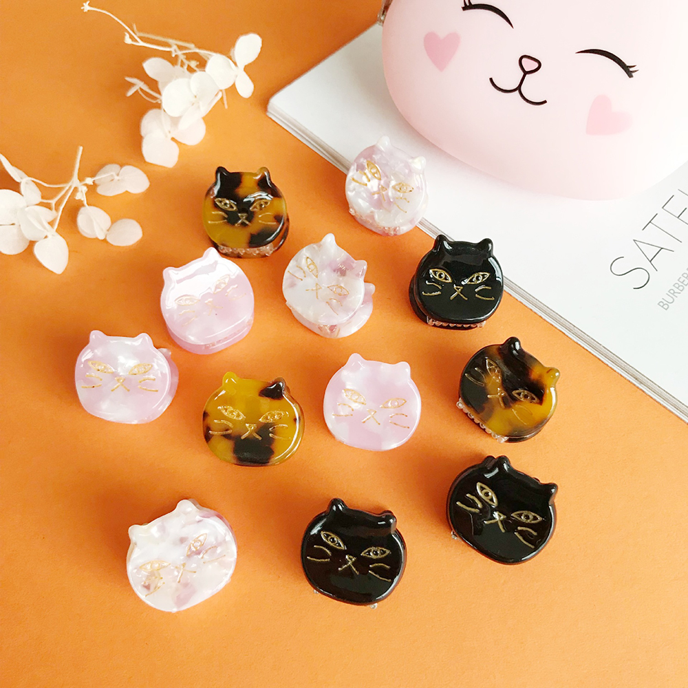 1PC 4 Colors Cat Acetic Acid Hairpin Small Catch Clip Acrylic Adult Bangs Hair Clip Hair Claw Hair Accessories