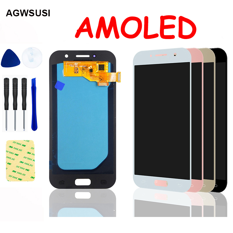 AMOLED For <font><b>Samsung</b></font> Galaxy A5 2017 LCD Screen <font><b>A520F</b></font> SM-<font><b>A520F</b></font> A520 LCD <font><b>Display</b></font> Panel Touch Screen Digitizer Sensor Assembly image