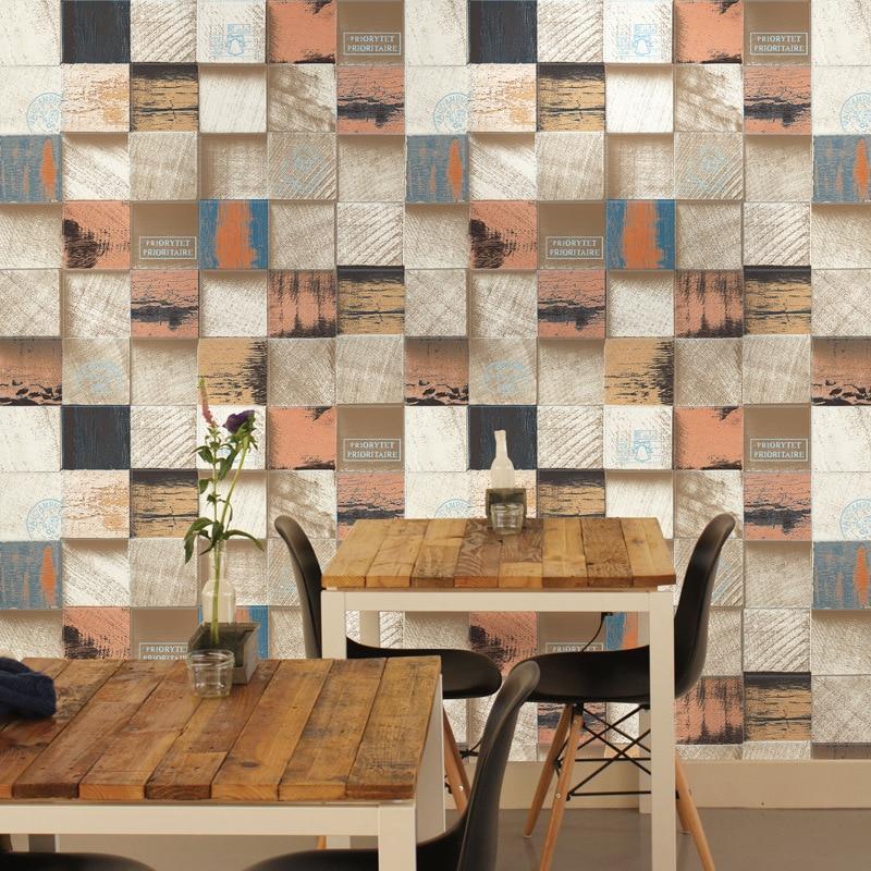 PVC HD motif coeur blocs de bois papier peint antique 3D grain de bois vêtements magasin restaurant fond mur art décoration de la maison - 2