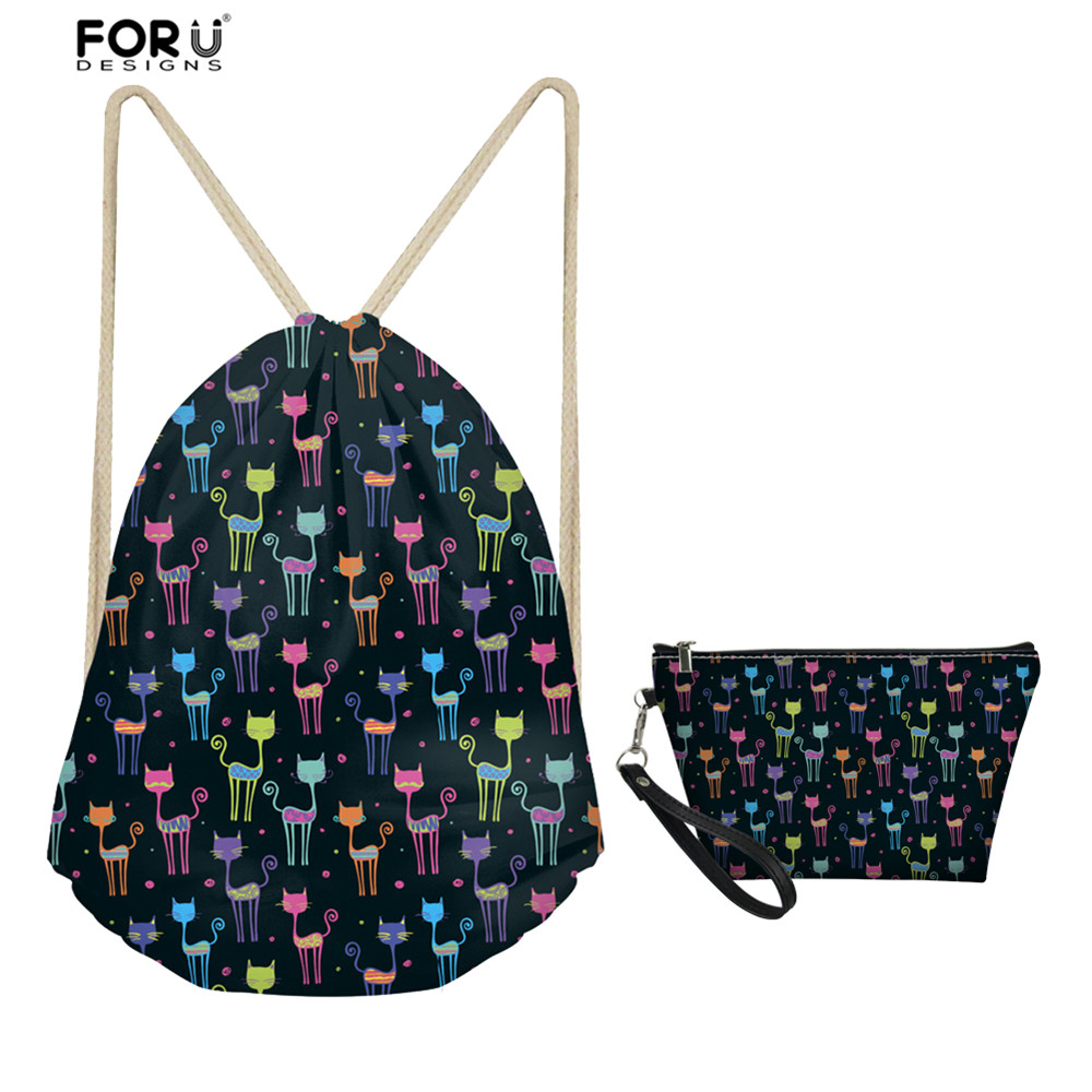 FORUDESIGNS Lovely Cat Pattern 2pcs/Set Drawstring Bags For Women Travel Cosmetic Bag Foldable Fitness Storage Kids School Bags