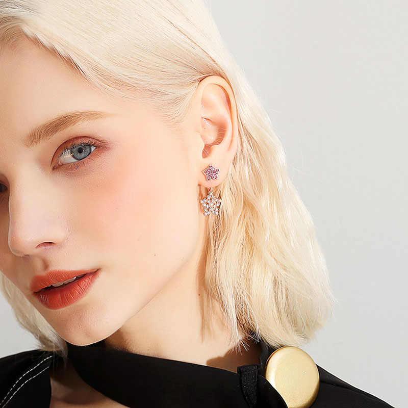 אישיות זעיר כוכב ריינסטון אופנה עגילי לב בצורת למנוע אלרגיה מעודן אלגנטי בנות זעיר עגיל יפה