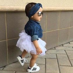 Moda Infantil Da Criança Do Bebê Da Menina 3 PEÇAS Outfits Denim Tops Shirt + Saias Tutu Headband Do Partido Roupas