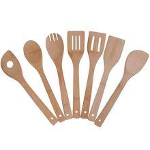 Набор кухонных принадлежностей из бамбука, 7 комплектов кухонных инструментов, деревянные ложки и шпатель 11,8 дюйма, лучше всего для не липких кастрюль и посуды