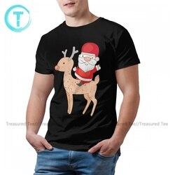 Santa Claus Tshirt Cute Cotton Short-Sleeve T Shirt Print Beach Tee Shirt Man Oversize