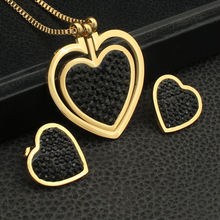 Joyas Heart Style Gold Color Necklace Stud Earrings Newest Hot Stainless Steel Jewelry Sets For Women Fashion Bijuterii SEDZFNCC(China)