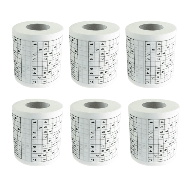 6 Rolls 250 Knots Durable Printed Tissue Paper Toilet Roll Paper Good Puzzle Game Health Sanitary Paper Toilet Tissue