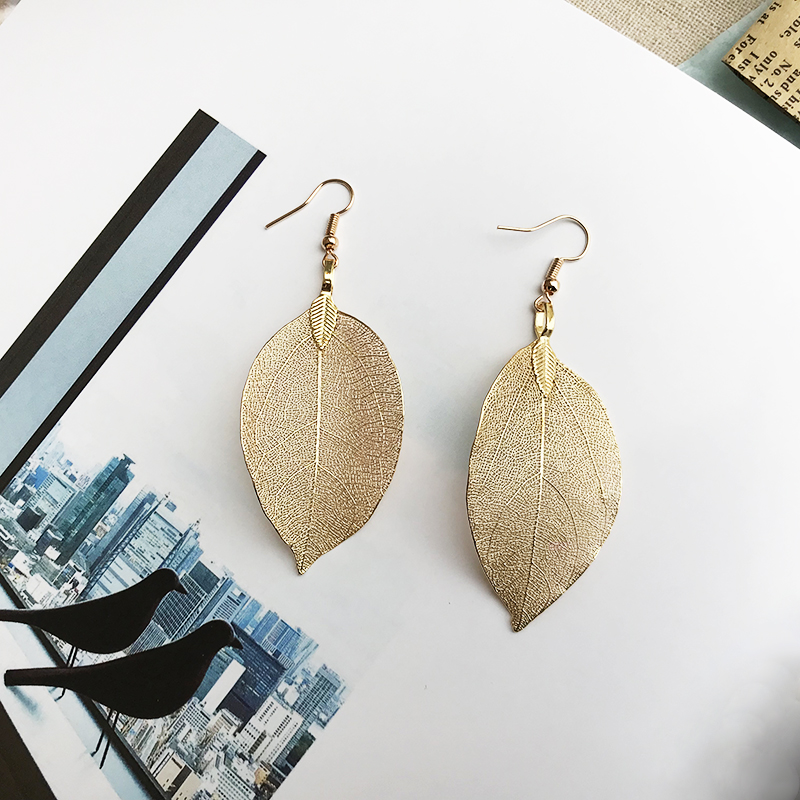 2019 Fashion Bohemian Long Earrings Unique Natural Real Leaf Big Earrings For Women Jewelry Gift oorbellen pendientes mujer mod