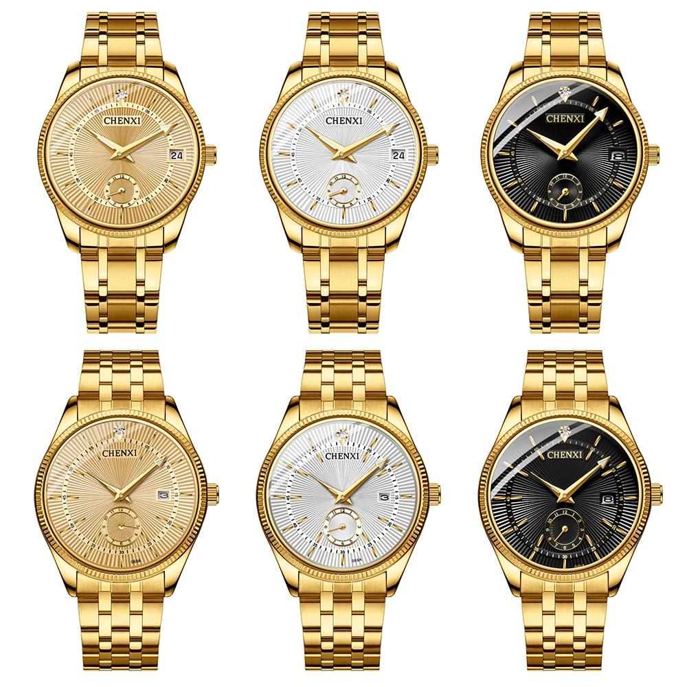 Men Women Couple Analog Watches Luxury Wrist Watches Gold Steel Date Quartz Wristwatch For Business Fashion Dress Gift