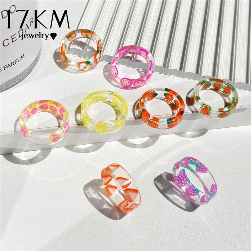 17KM Korean Fashion Fresh Fruits Transparent Resin Acrylic Ring For Women Girls New Design Strawberry Lemon Finger Jewelry Gifts