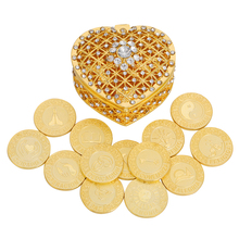 Spaish Gold Wedding Coin Arras de Boda Unity Coins Set Heart Gift Box Spain Silver Catholic Arra Wedding Ceremony Bride Jewelry
