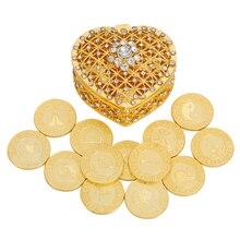 Spaish ouro casamento moeda arras de boda unidade moedas conjunto coração caixa de presente espanha prata católica arra cerimônia de casamento noiva jóias