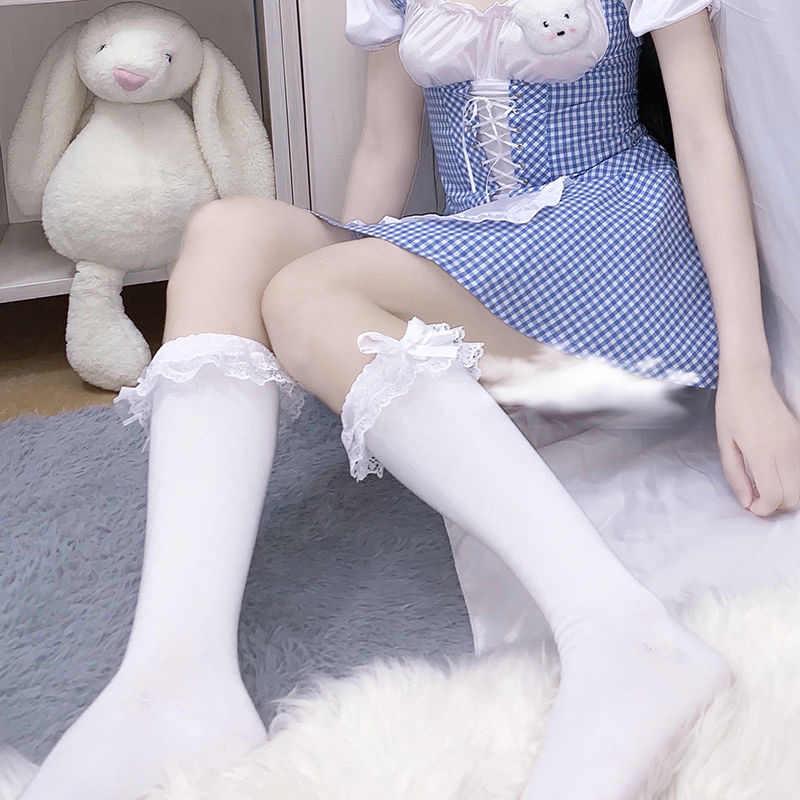 Носки Лолиты для горничной, костюмы для косплея по колено, аксессуары, нейлоновые кружевные носки с бантом, милые длинные носки для девочек Kwaii, белые женские гольфы