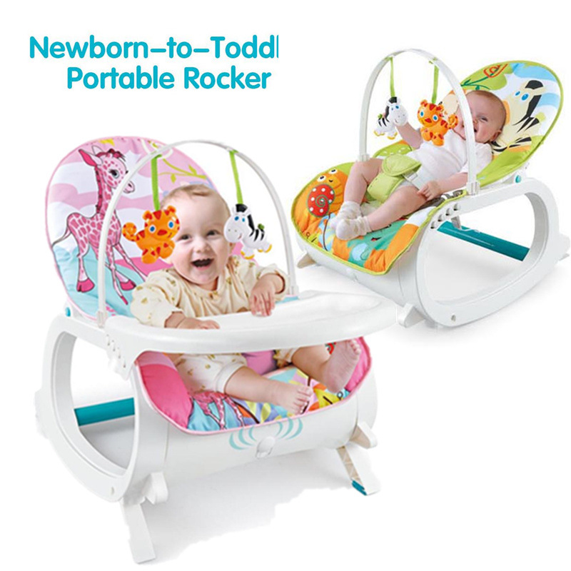 3 In 1 Newborn  Protable Multifunctional Rocking Chair  Can Sit And Lie Baby Dining Table  Kids Jumper Swing Chair With Music