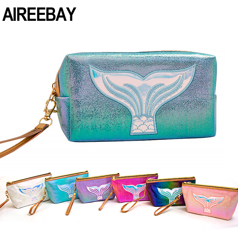 AIREEBAY New Holographic Women Cosmetic Bag Multifunction Travel Portable Sequins Makeup Case Toiletry Organizer Storage Bag