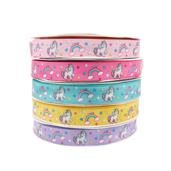 (25mmx1Yard) Printed Unicorn Grosgrain Ribbon Handmade DIY Accessories Gift Wrapping For Wedding Birthday Unicorn Party Decor