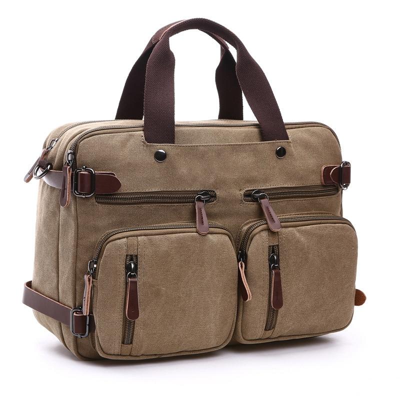 Men Canvas Bag Leather Briefcase Travel Suitcase Messenger Shoulder Tote Back Handbag Large Casual Business Laptop Pocket