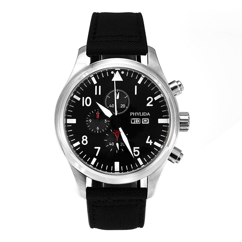 5ATM MIYOTA Black 45mm Pilot Watch Chrono Day/Date Domed Sapphire Crystal Leather Strap