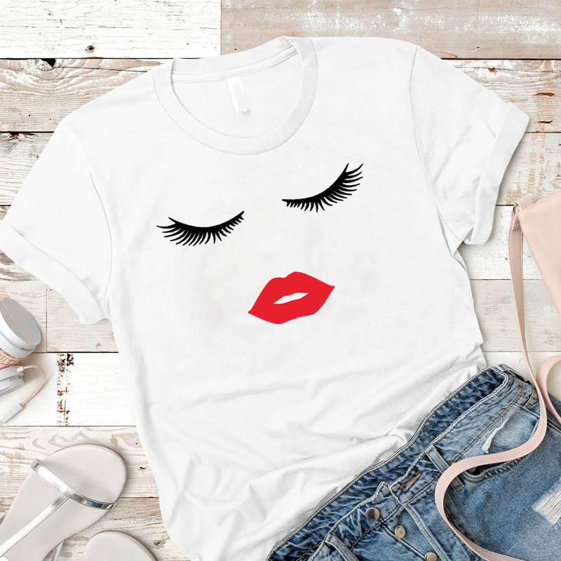 Beauty Eye Lashes Red Lips Print Women T Shirt Vintage Casual Short Sleeve O Neck T-shirt Ladies White Tshirt Tops