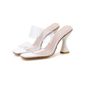 Image 2 - Kcenid 2020 femmes pantoufles sandales tasse haut talon transparent bande slingback bout carré décontracté mode été pantoufles taille 35 42