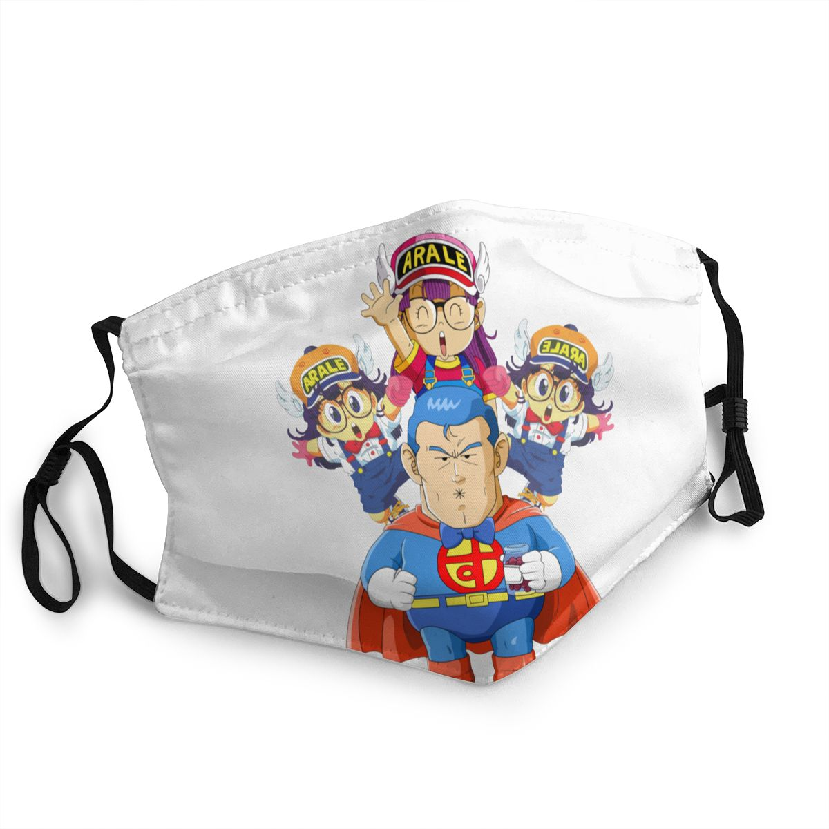 Dr. Slump And Arale Men Women Non-Disposable Face Mask Anti Haze Dustproof Mask Protection Cover Respirator Mouth Muffle