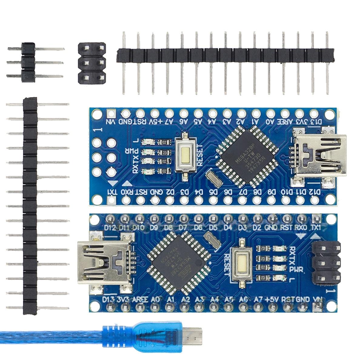 Совместимый контроллер Nano v3.0 для Arduino, с загрузчиком, USB-драйвером CH340, 16 МГц, ATMEGA328P/168P