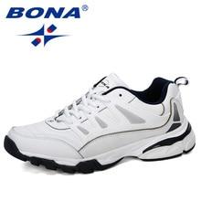 BONA 2019 New Designer Men Running Shoes Cow Split Krasovki Lace Up Non Slip Sport Shoes Men Sneakers Men Zapatillas Hombre Shoe
