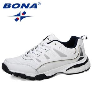 Image 1 - BONA 2019 New Designer Men Running Shoes Cow Split Krasovki Lace Up Non Slip Sport Shoes Men Sneakers Men Zapatillas Hombre Shoe