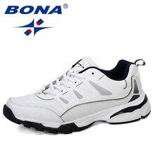Мужская Нескользящая спортивная обувь BONA, черные кроссовки из коровьего спилка, на шнуровке, для бега, 2019