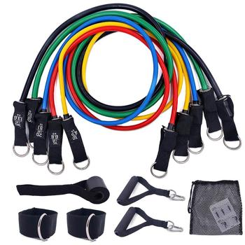 11 PCS Latex Resistance Bands Set Exercise Workout Bands with Handles Door Anchor Ankle Straps Gym Equipment for Home Training resistance band 11pc set with door anchor ankle straps foam handles