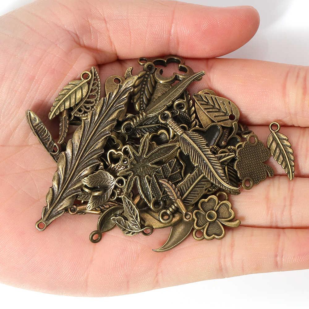 50 グラム 100 グラム金属葉ミックスチャームペンダントアンティークブロンズブレスレットネックレス diy アクセサリー卸売ークラフトジュエリーメイキング