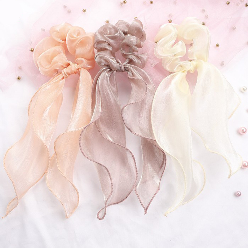 Pure Color Glitter Silk Long Thin Streamers Women Elastic Bows Hair Scrunchies Hair Ties Hairband Female Ladies Hair Accessories