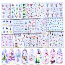 1pcs 손톱 물 전송 스티커 크리스마스 새해 네일 스티커 물 슬라이더 산타 클로스 엘크 눈사람 매니큐어 장식 네일 도구