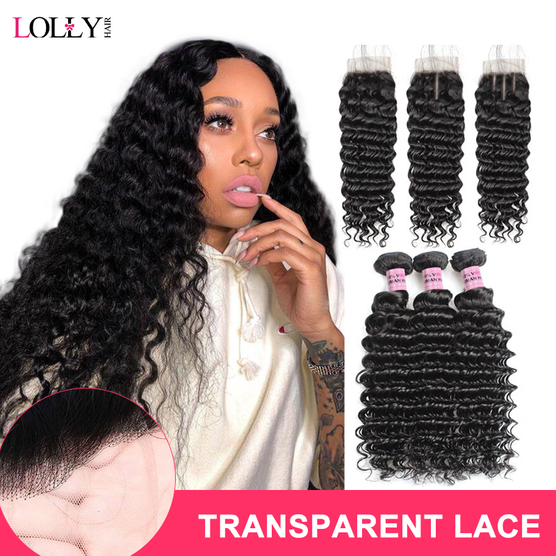Brazilian Deep Wave Bundles With Closure Transparent Lace Closure With Bundles Human Hair Bundles With Closure Lolly Non-Remy