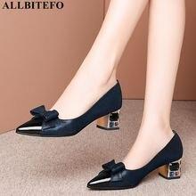Allbitefo doce bowtie cheio de couro genuíno sapatos de salto alto marca salto alto sapatos de festa das senhoras do escritório