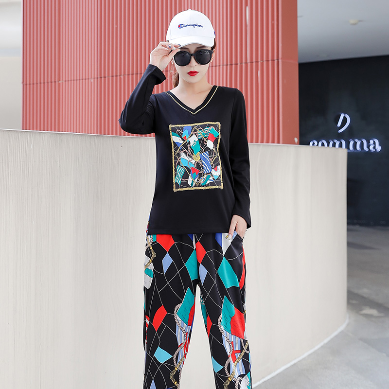 Plus Size 2019 Autumn Printed Casual Two Piece Sets Outfits Tracksuits Women V-neck Tops And Harem Pants Suits Korean Sets Suits 28