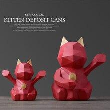 Geometric Graph Cat cute Piggy Bank children Gift Money box for kids Home décor money saving coin bank piggy store