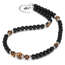 Natural Stone Bead Necklace for Men Women Lobster Clasp Adjustable Mixed Black Matte Tiger Eye Stone Charm Jewelry Gifts LDN145