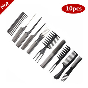 Best New 10pcs/Set Professional Hair Brush Comb Salon Barber Hair Combs Hairbrush Hairdressing Combs Hair Care Styling Tools(China)